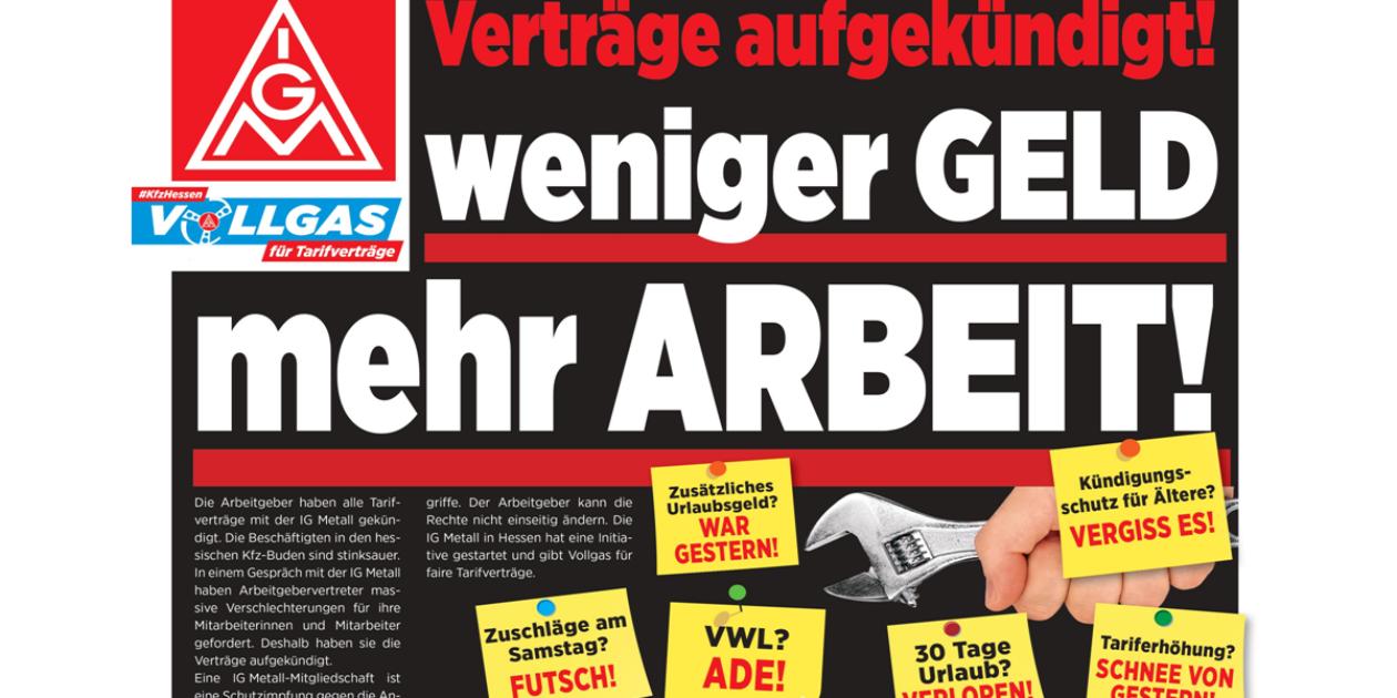 Kfz-Handwerk Hessen: Tarifverträge gekündigt! Weniger GELD - mehr ARBEIT!