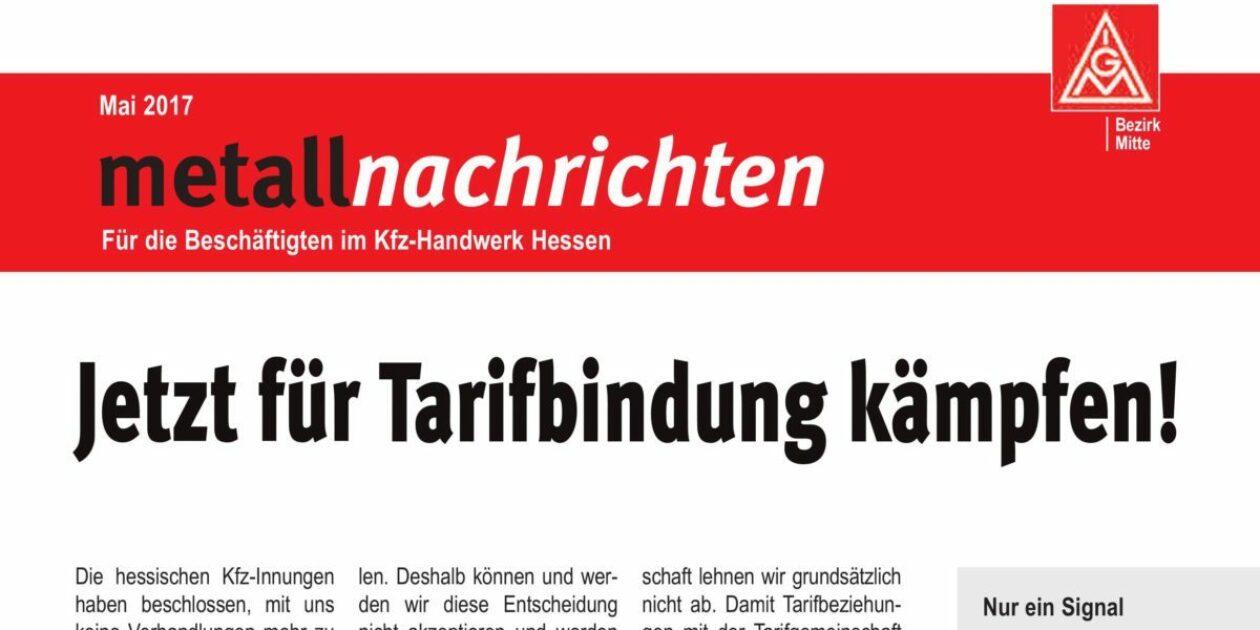 Metallnachrichten: Jetzt für Tarifbindung kämpfen!