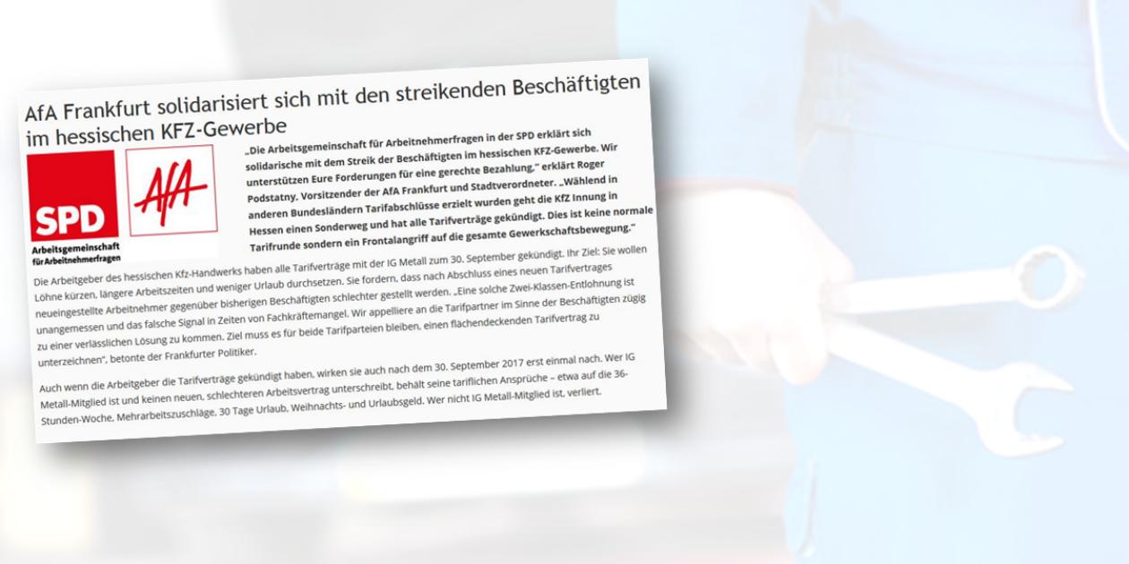 AfA Frankfurt solidarisiert sich mit den streikenden Beschäftigten im hessischen KFZ-Gewerbe