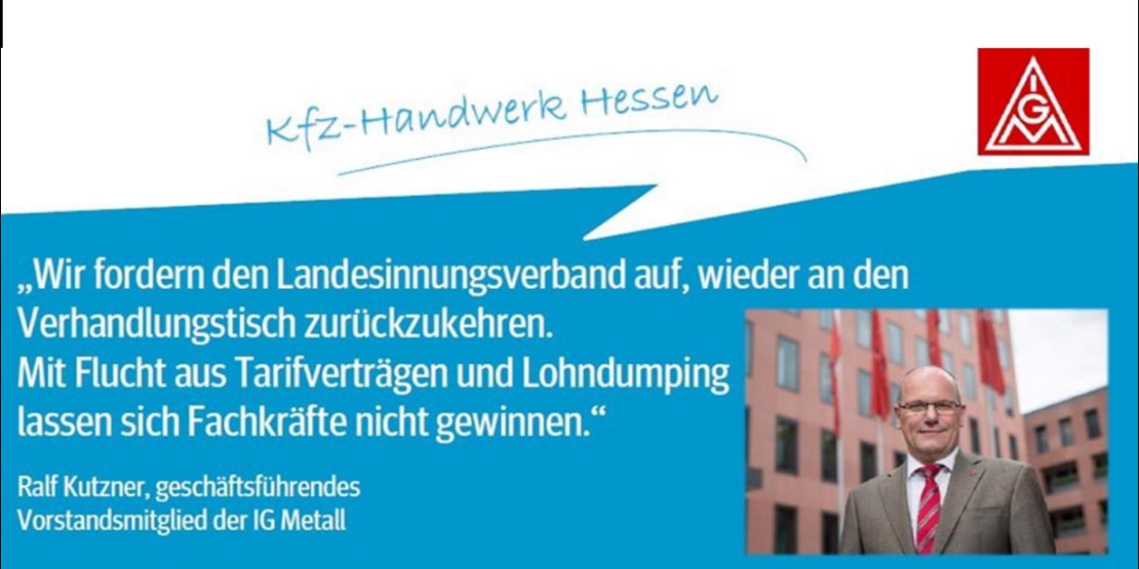 Ralf Kutzner, geschäftsführendes Vorstandsmitglied der IG Metall, erklärt sich mit Kfz Kolleginnen und Kollegen in Hessen solidarisch