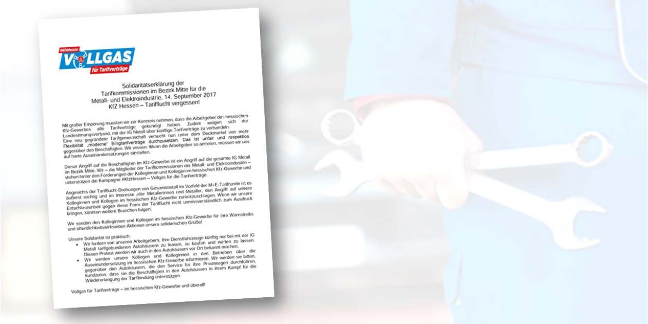 Tarifkommission der Metallindustrie für Hessen, Rheinland Pfalz, Saarland und Thüringen erklärt sich einstimmig solidarisch