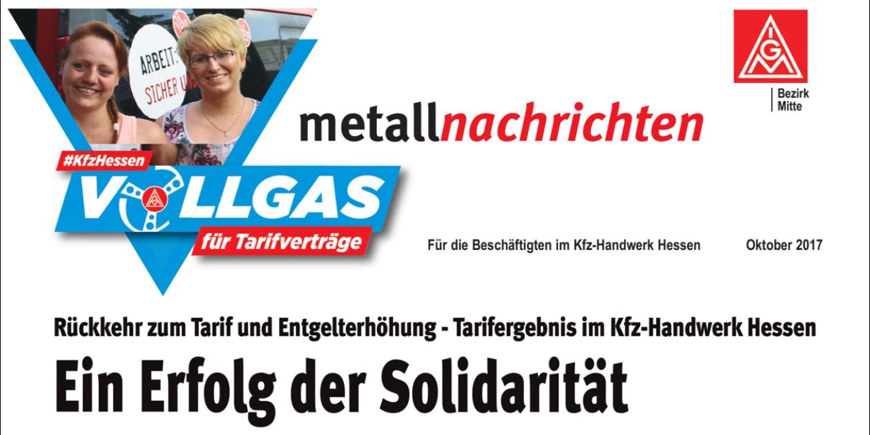 Metallnachrichten Oktober 2017 - Tarifergebnis mit der Tarifgemeinschaft