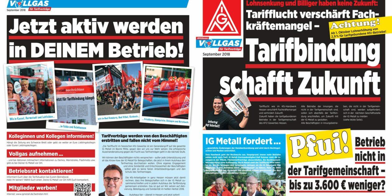 #kfzhessen – Vollgas für Tarifverträge: Tarifbindung schafft Zukunft – Neue Aktionszeitung erschienen