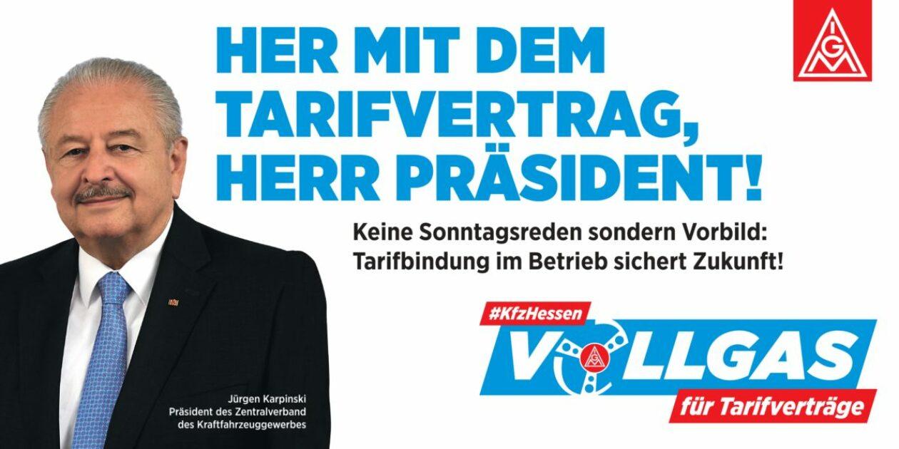 #kfzhessen – Vollgas für Tarifverträge – startet heute Phase B mit Flashmob-Demo vor dem Autohaus Schmitt in Niederrad des Präsidenten des Zentralverbandes des Deutschen Kfz Gewerbes