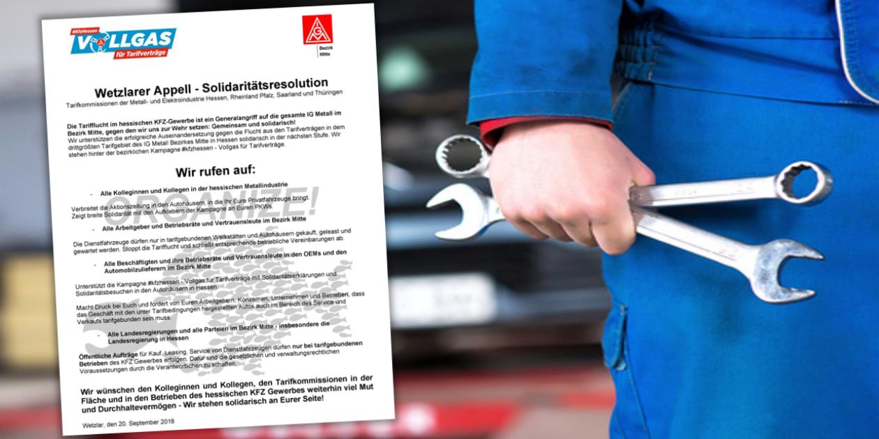 #kfzhessen – Vollgas für Tarifverträge: Tarifkommissionen der Metall- und Elektroindustrie solidarisch.