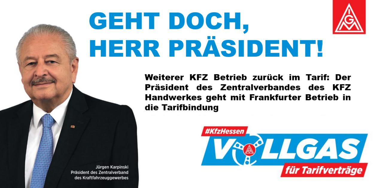 Präsident des Zentralverbandes des KFZ Handwerkes geht mit Frankfurter Betrieb in die Tarifbindung