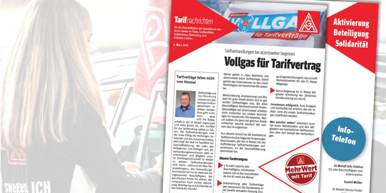 #kfzhessen – Vollgas für Tarifverträge - Phase B läuft stark weiter: IG Metall fordert Tarifbindung bei Atzert:Weber