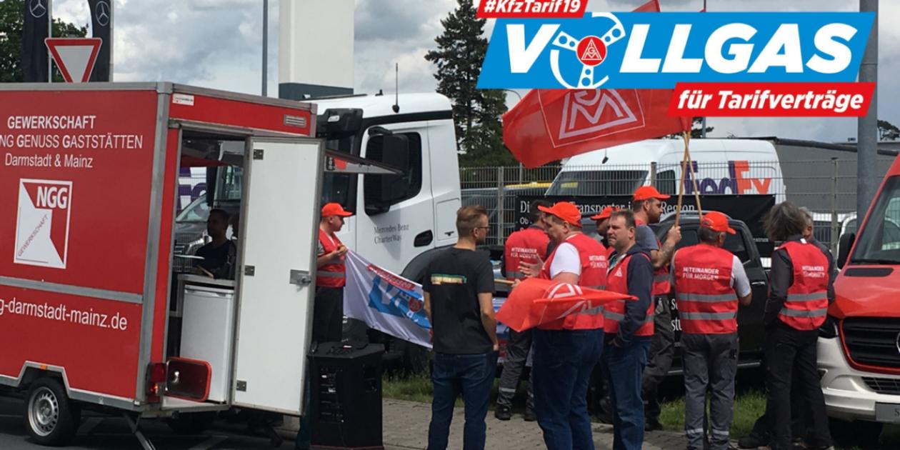 Beschäftigte der LKW Betriebe in Darmstadt machen Druck!